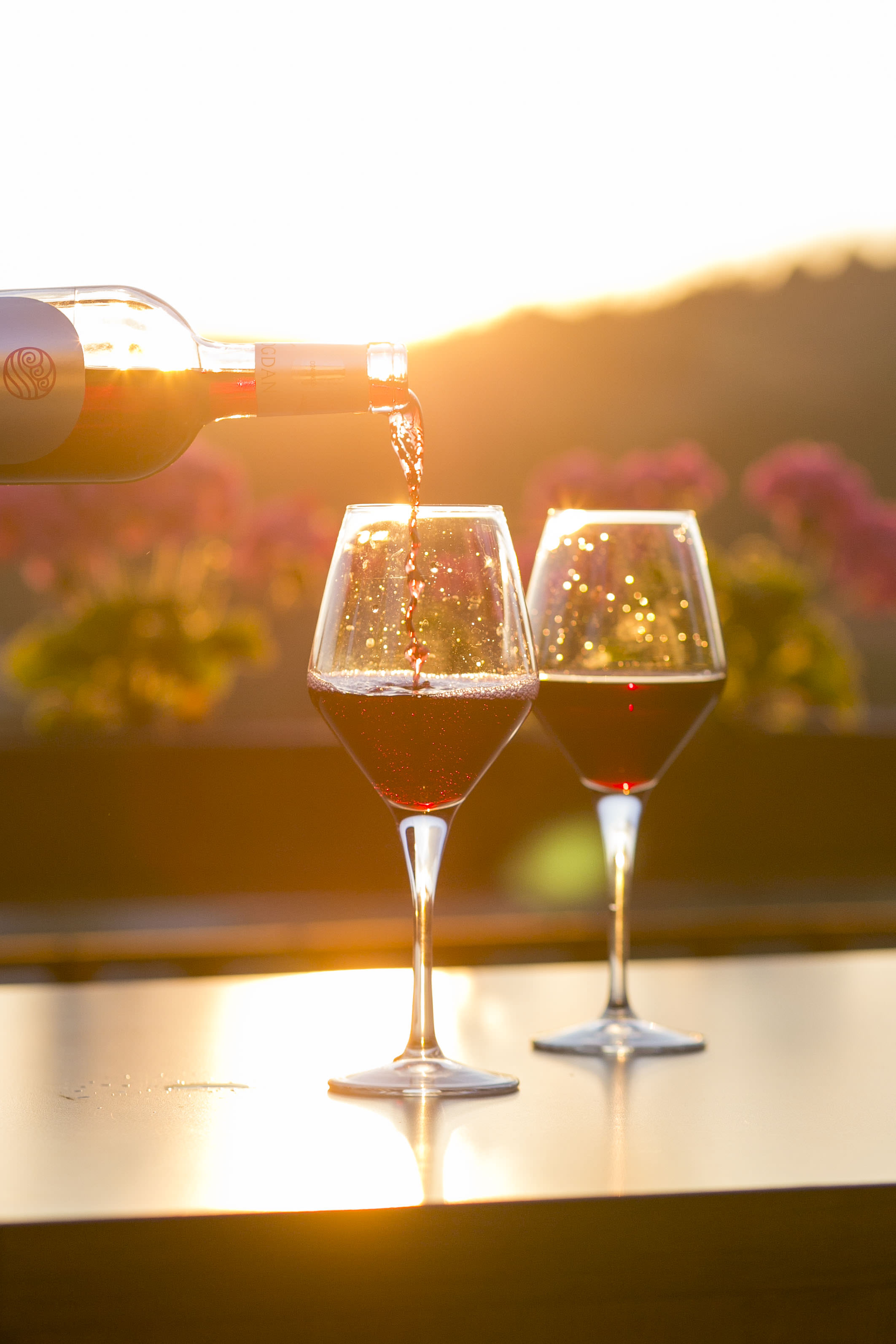 Sunset with Two Wine Glasses